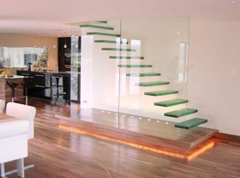 Encased Glass Balustrade Stairs