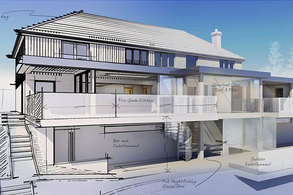design sketch of modern house