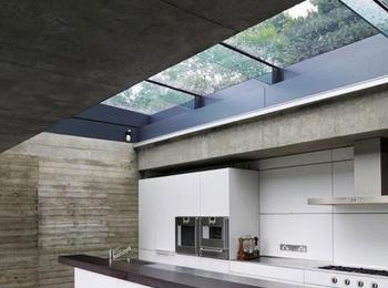Glass Skylight in Kitchen